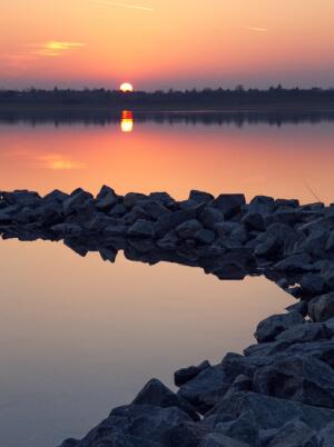 Sonnenuntergang am Makkleeberger See