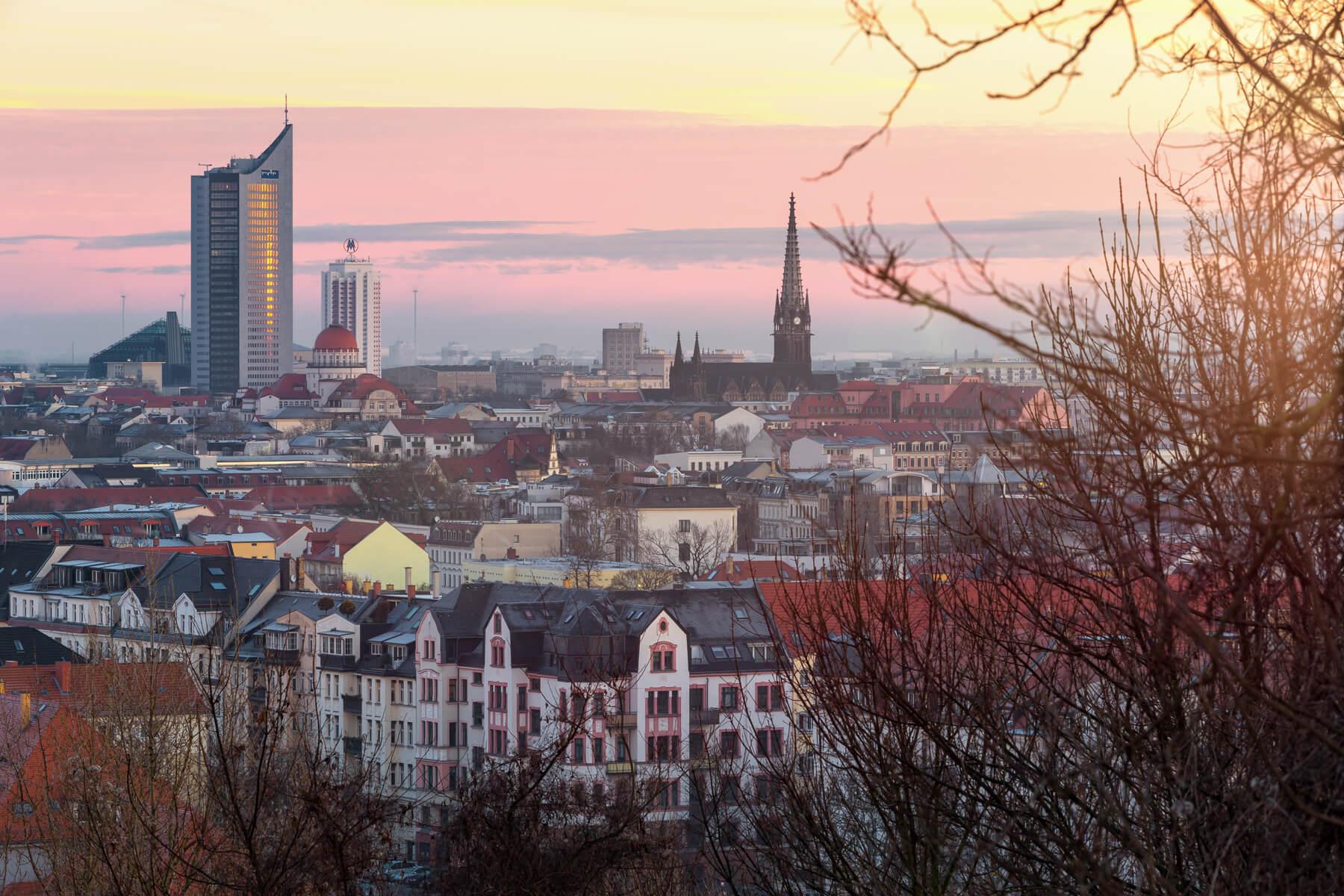 Blick vom Fockeberg auf die Leipziger Innenstadt.